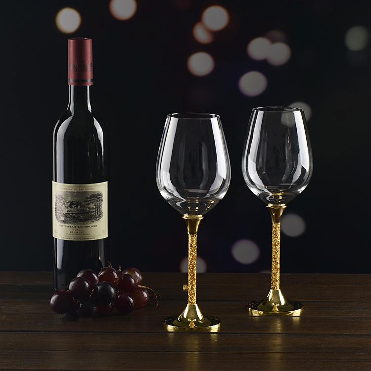 新款高脚金箔红酒杯套送礼实用型商务礼品摆件装饰品